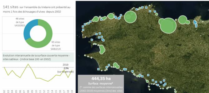 Suivi des échouages d'algues vertes sur le littoral breton depuis 2002